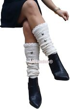 """AM Landen®Winter Knee-Highs Acrylic Knit with Studs Leg Warmers, 18"""" Off-White"""