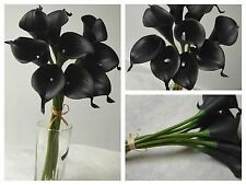 18 Black Calla Lily Black Flowers Silk Bridal Bouquet Wedding Real Touch Flowers