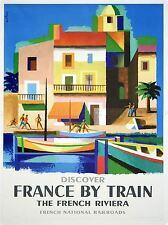 TRAVEL FRANCE TRAIN RAILWAY RIVIERA FRENCH RAILROAD BOAT VINTAGE POSTER 970PYLV
