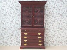 1/12 scale Dolls House Furniture  Cabinet Mahogany Top And Chest (2 Pcs) EX02