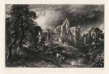 "John Constable / David Lucas ""Castle Acre Priory"" mezzotint engraving"
