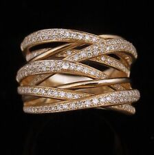 EFFY Diamonds Rose Gold Crossover Ring Wide Band Estate Modern Contemp Ret $3900