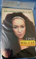 2 Pcs Wig Cap Breathable Stretchable Nylon Stretch Stocking Cap - Black