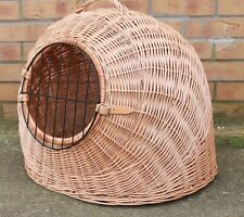LARGE - Wicker Pet Carrier Igloo /Dog Cat Rabbit, Natural Crate