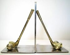 Vintage Brass Golf Clubs Silverplated Chromed Mirror Bookends Andrea by Sadek
