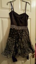Size 8 Vintage Corset Topshop Stud Belt Black Net and Satin Dress Halloween Goth
