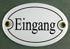 """Emaille Türschild """"Eingang"""" weiß oval 7x10 cm Schild Emailleschild Metallschild"""