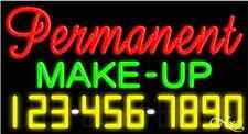 """NEW """"PERMANENT MAKE-UP"""" YOUR PHONE NUMBER 37x20 NEON SIGN W/CUSTOM OPTIONS 15094"""