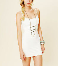 NEW ANTHROPOLOGIE FREE PEOPLE INTIMATELY STRETCH BODYCON IVORY MINI DRESS XS / S