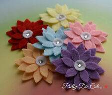 Water Lily Style Felt Flowers (5) Die Cut Floral Craft Embellishments
