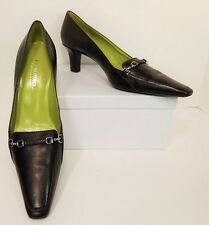 NWOB Bruno Magli Brown Leather Square Toe Heels Pumps Shoes 10AA Narrow (S148)