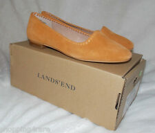 Lands End Vanessa Whipstitch Venetian Sweet Potato Gold Flat Suede Shoes 6 Wide
