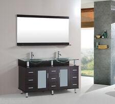60 inch Double tempered glass Sink Bathroom Vanity cabinet Espresso with mirro 7