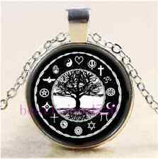 World Religions Peace Tree Of Life Cabochon Glass Tibet Silver Pendant Necklace-