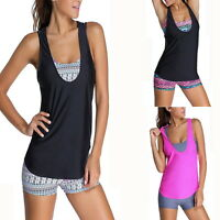 3PCS Women Push Up Tankini Swimwear Bra Top Vest With Boyshort Swimsuit Set