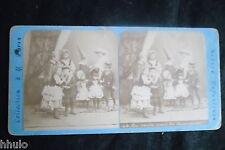 STB207 Scènes enfantines carnaval déguisement Photo STEREO albumen original