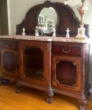 Antique Chippendale French Burl Walnut Buffet Marble & Mirror Sideboard Credenza