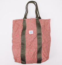 New POST O'ALLS Red Floral Calico Print Tote Bag Chambray Lining Overalls
