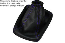 PURPLE STITCH MANUAL LEATHER SKIN GEAR GAITER FITS CHEVROLET AVEO 2012-2015
