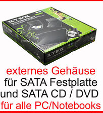 Esterno esterno Chassis per S-ATA DVD-RW + SATA Disco Rigido Notebook Case HDD CD