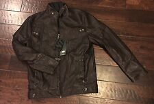 Dark Brown Distressed Leather Motorcycle Jacket Men's Medium