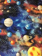 CELESTIAL Outerspace Planet Galaxy Cosmic Moon Star Sun SOFT FLANNEL Fabric BTHY