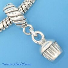 CUPCAKE OR MUFFIN .925 Solid Sterling Silver EUROPEAN EURO Dangle Bead Charm