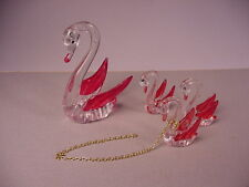 Vintage 1970's Swans figurines chained set Swan 4 pc.  hard plastic figures