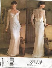 Bellville Sasson Vogue Sewing Pattern Long Fitted Button Back Gown 2846 Sz 12-16