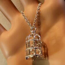 new sterling silver love birds in cage pendant & chain