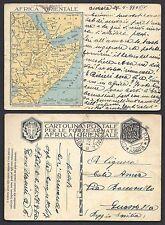 POSTA MILITARE AOI 1936 Franchigia da PM Concentr. Suss. Asmara a Guastalla(FS8)