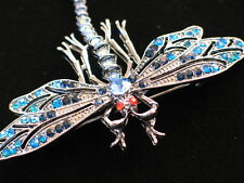 PEWTER RED AB BLUE RHINESTONE FLY BUG INSECT DRAGONFLY PIN BROOCH JEWELRY 2.75""