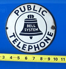 VINTAGE 50'S BELL SYSTEM PUBLIC TELEPHONE PORCELAIN SIGN HAS #22 ON BACK