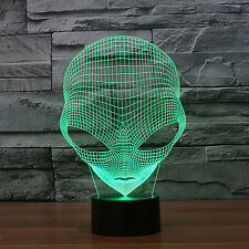 3D LED Alien Bedroom Bulb Illusion Night Light Desk Table Lamp 7 Color Changing