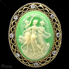 Vintage Victorian Design Queen Lady Cameo Green Crystal Pin Brooch Gold T Jewelr