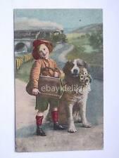 San Bernardo cane dog e bambino treno ferrovia vecchia cartolina