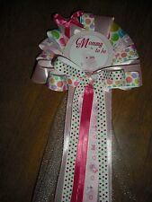 Baby shower pink elephant Mommy and Daddy Baby shower corsage and Tie
