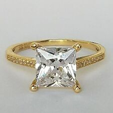 14k real Yellow Gold solitaire Princess Cut man made diamond Engagement Ring S 7