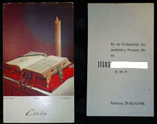 OLD PRIESTLY ORDINATION AND FIRST MASS HOLY CARD . 1958 . SEE MY EBAY SHOP CC276