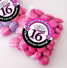 12x Personalised Sweet Sixteen 16th party favours SWEET BAGS KITS stickers/bags