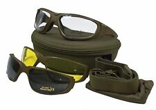 Multi-Lens COMBAT GOGGLES TACTICAL UV 400 Military Safety Glasses - Olive Green