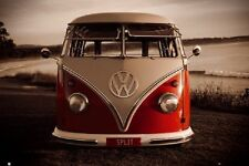 "VW CALIFORNIAN CAMPER POSTER ""Red Front On KOMBI USA"" NEW Licensed"