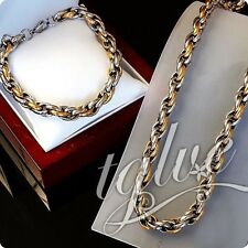 Silver Gold Stainless Steel Round Rope Heavy Mens Boys Chain And Bracelet Set
