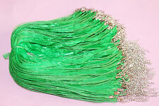 10PCS Dark Green Organza Ribbon Necklace Cords Colour Alloy Clasp 45cm + 5cm u