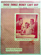 (NAT) KING COLE TRIO Sheet Music THOSE THINGS MONEY CAN'T BUY Capitol Publ.