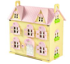 Butterbee Cottage Children's Wooden Dolls House with Curtains and 2 Staircases