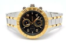 Omax Men's Watch All Stainless Steel Tone Two Black n Gold Chrono Dial