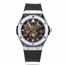 WINNER Skeleton Mens Automatic Mechanical Black Silicone Band Cool Wrist Watch
