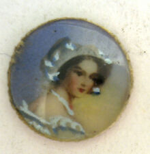 Antique Round MINI Painted Photograph Locket Insert Pendant & Curved Glass #ZZ53