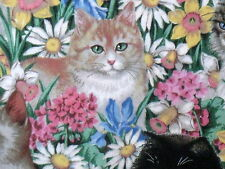 Daisy Kingdom Spring floral Tabby Cat cotton fabric Paws in the Flowers 1/2 yard